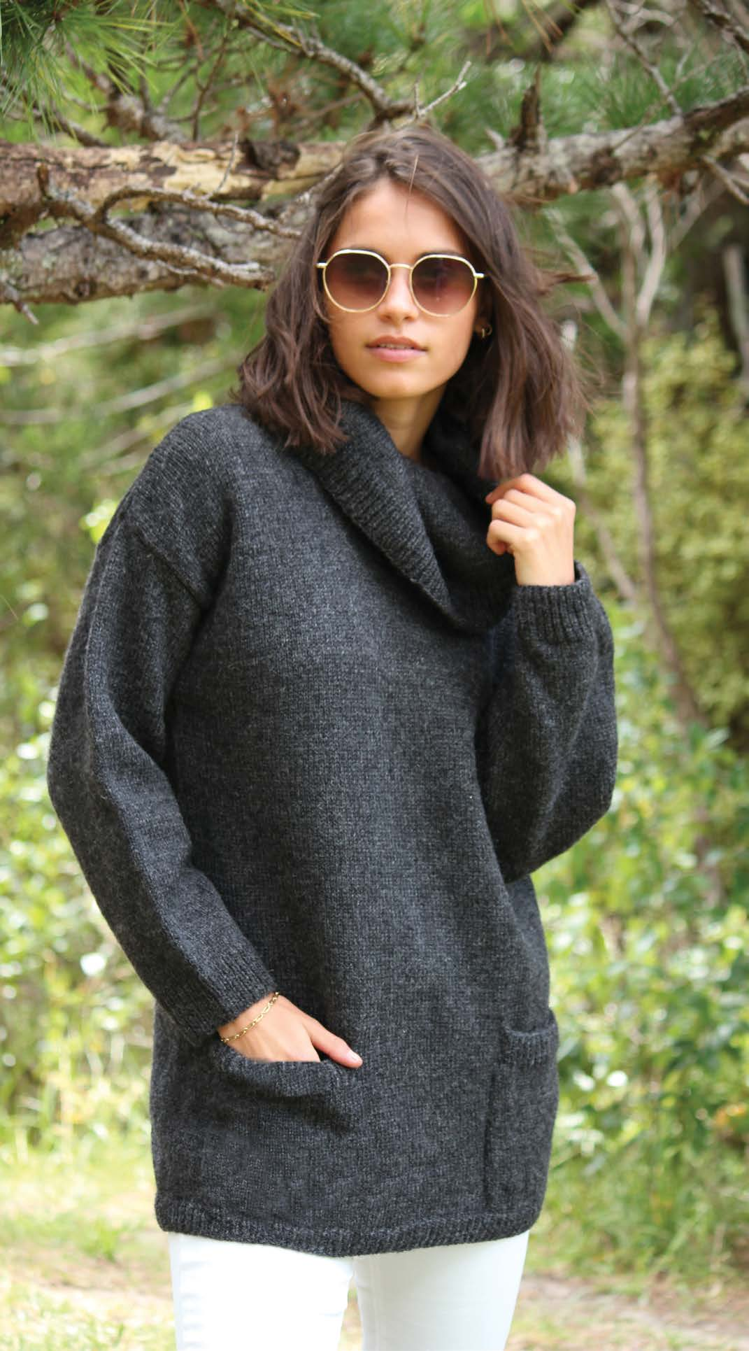 Crucci Knitting Pattern 2014 Longline Sweater With Cowl Collar - Digital