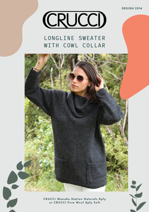 Crucci Knitting Pattern 2014 Longline Sweater With Cowl Collar