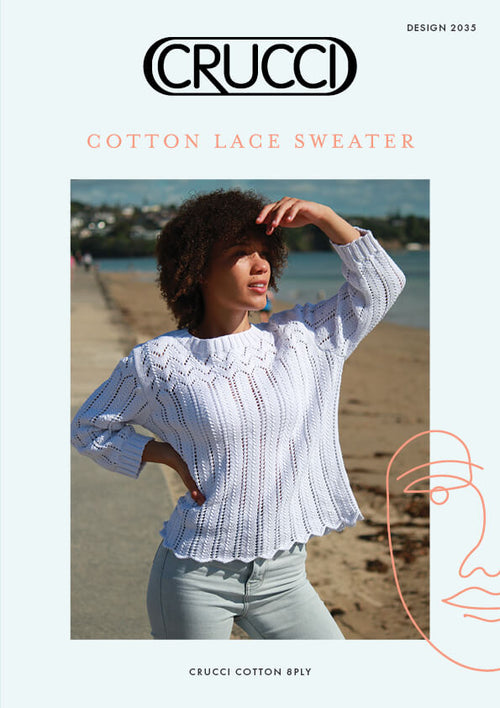 Crucci Knitting Pattern 2035 Cotton Lace Sweater
