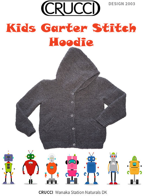 Crucci Knitting Pattern 2003 Kids Garter Stitch Hoodie