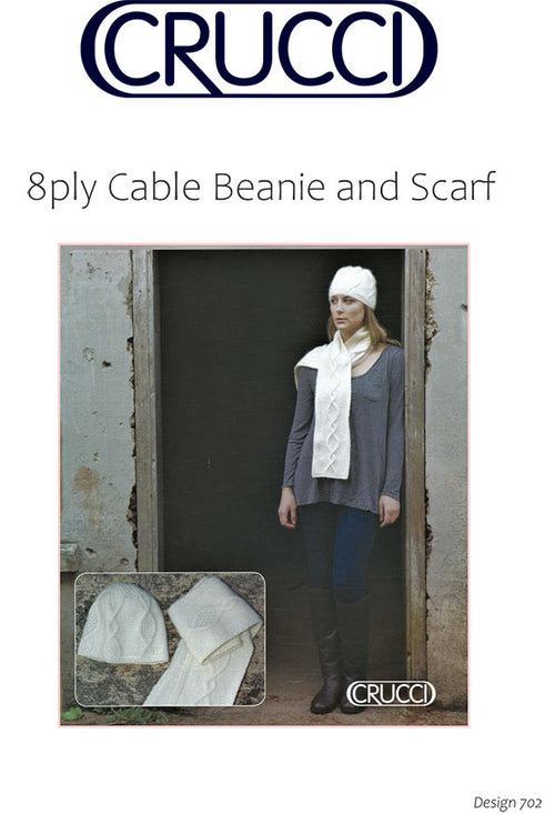 Women's 8ply Cable Beanie and Scarf [FREE DIGITAL PATTERN]