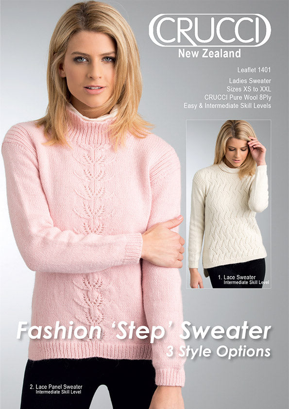 Crucci Pattern 1401 Ladies Sweater 8ply - Digital