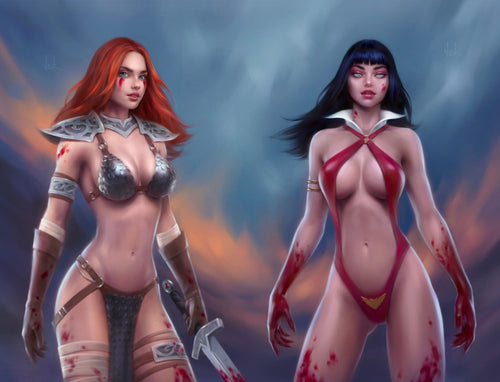 Vampirella Dark Powers #1 & RedSonja Price of Blood #1 Connecting Covers By Will Jack