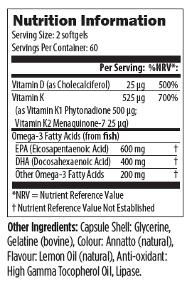 Designs For Health OmegAvail Ultra (Blue Label) With Vit. D3, K1, K2, Lipase 120's