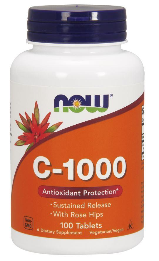 NOW Foods Vitamin C-1000 with Rose Hips - Susteined Release - 100 tablets