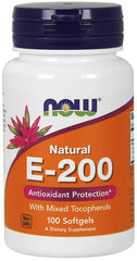 NOW Foods Vitamin E-200 - Natural (Mixed Tocopherols) - 100 softgels