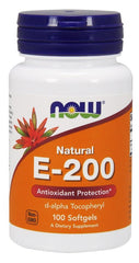 NOW Foods Vitamin E-200, Natural - 100 softgels