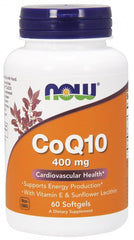 NOW Foods CoQ10 with Lecithin & Vitamin E, 400mg - 60 softgels