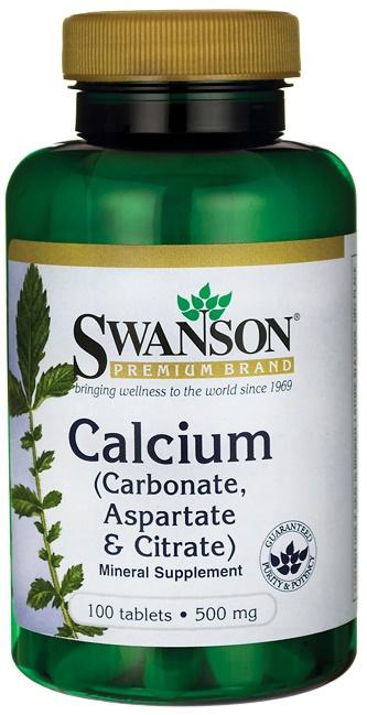 Swanson Calcium (Carbonate, Aspartate & Citrate), 500mg - 100 tablets