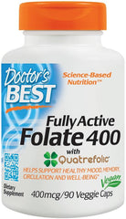 Doctor's Best Fully Active Folate 400 with Quatrefolic, 400mcg - 90 vcaps