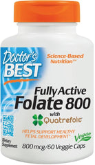 Doctor's Best Fully Active Folate 800 with Quatrefolic, 800mcg - 60 vcaps