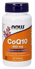 NOW Foods CoQ10 with Vitamin E & Sunflower Lecithin, 400mg - 30 softgels