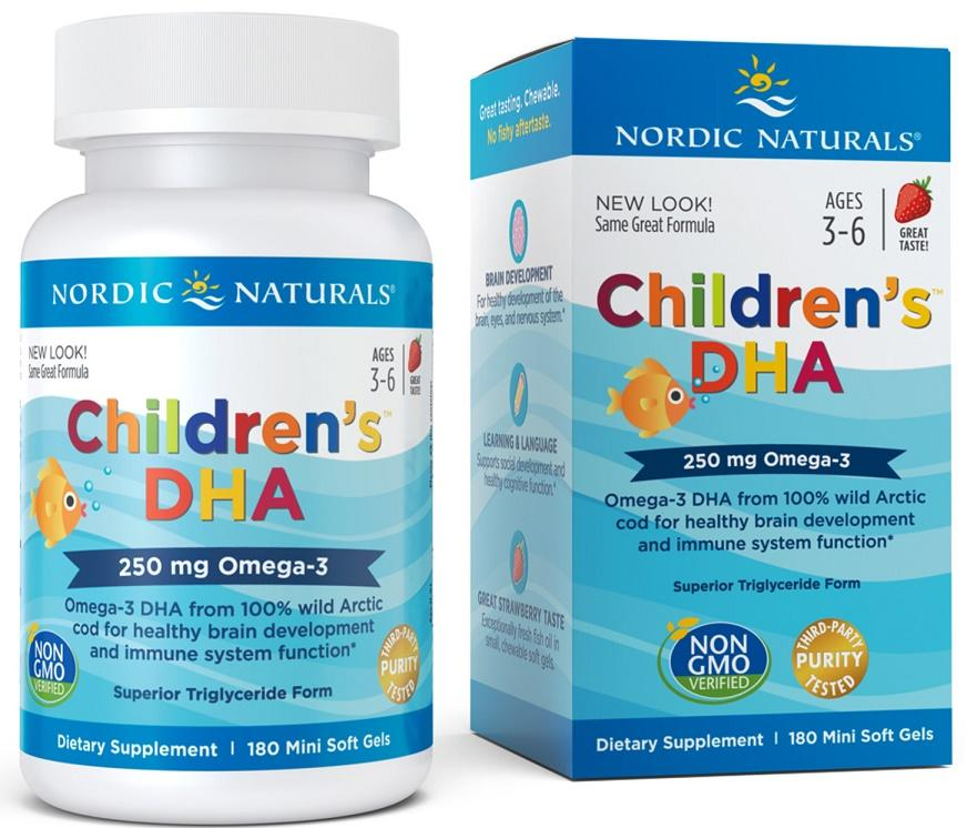 Nordic Naturals Children's DHA, 250mg Strawberry - 180 softgels