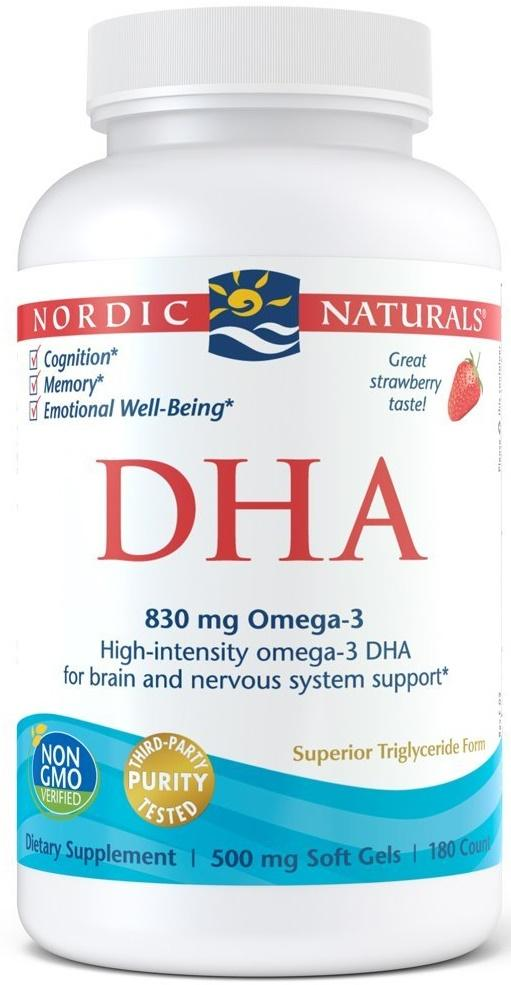 Nordic Naturals DHA, 830mg Strawberry - 180 softgels