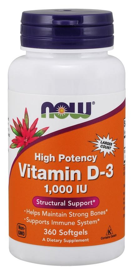 NOW Foods Vitamin D-3, 1000 IU - 360 softgels
