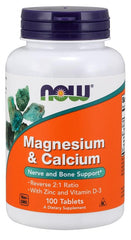 NOW Foods Magnesium & Calcium with Zinc and Vitamin D3 - 100 tablets