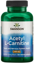 Swanson Acetyl L-Carnitine, 500mg - 100 vcaps