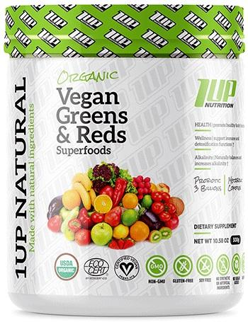 1Up Nutrition Organic Vegan Greens & Reds Superfoods - 300 grams