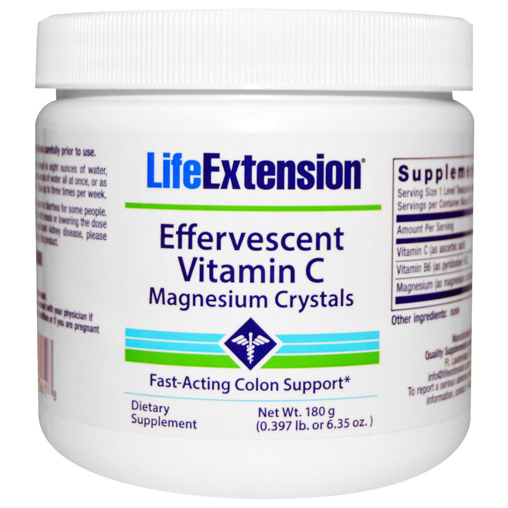 Life Extension Effervescent Vitamin C Magnesium Crystals - 180 grams