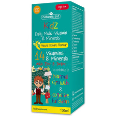 Natures Aid Kidz Daily Multi-Vitamin & Minerals Natural Banana Flavour 150ml