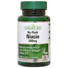 Natures Aid No Flush Niacin (Vitamin B3) 500mg 60's