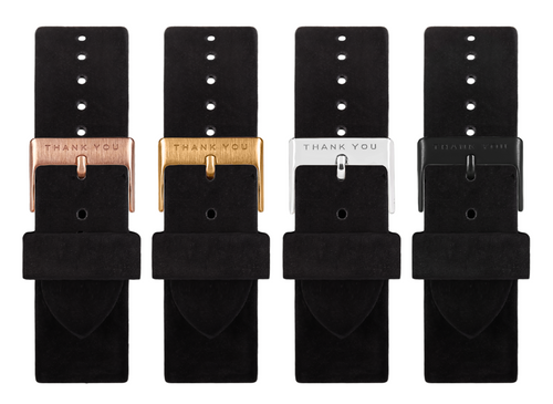 Black Suede Leather Timepiece Bands