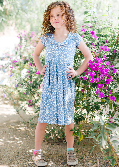 Peter Pan Bow Dress in Blueberry