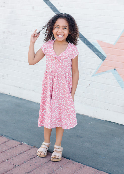 Peter Pan Bow Dress in Rhubarb