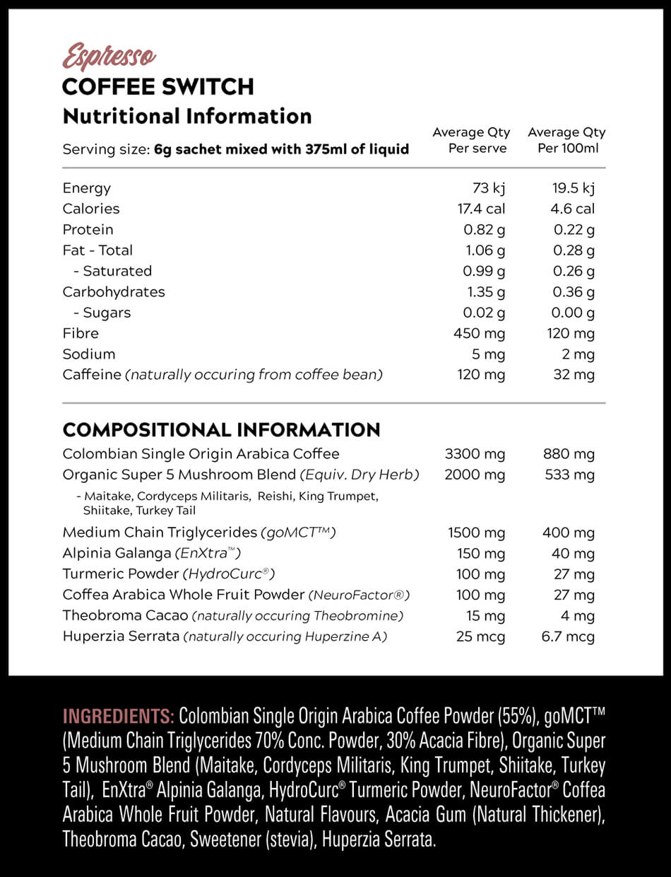 Coffee Switch Nutritional Information