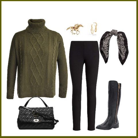 How To Wear The Khaki Cable Knit Roll Neck Jumper Lady Kate