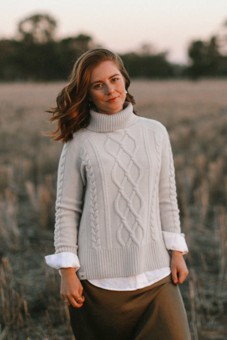 Cable Knit Roll Neck Jumper - Bone