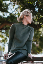 High-Low Collar Jumper - Pine Green