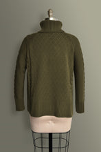 Cable Knit Roll Neck Jumper - Khaki