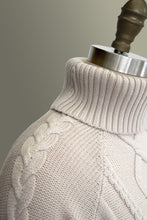 Cable Knit Roll Neck - Bone