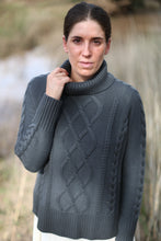 Cable Knit Roll Neck - Gunmetal