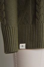 Cable Knit Roll Neck - Khaki