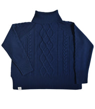Cable Knit Roll Neck - Midnight Blue