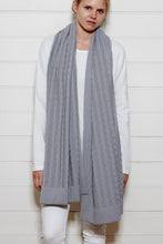Oversize Cable Knit Scarf - Steel Grey