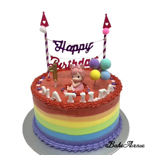 1st Birthday Rainbow Cake with toppers
