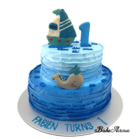 2-Tiers Cake (1st Birthday) - Sea/Beach Design