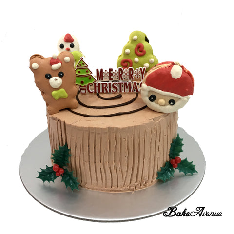 Christmas Cake - Stump Cake with Macaron Toppers