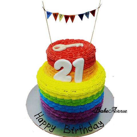 2 Tiers Rainbow Cake - 21st Birthday