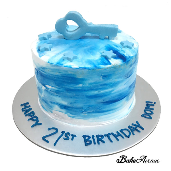 21st Birthday Ombre Cake (Blue White Theme)