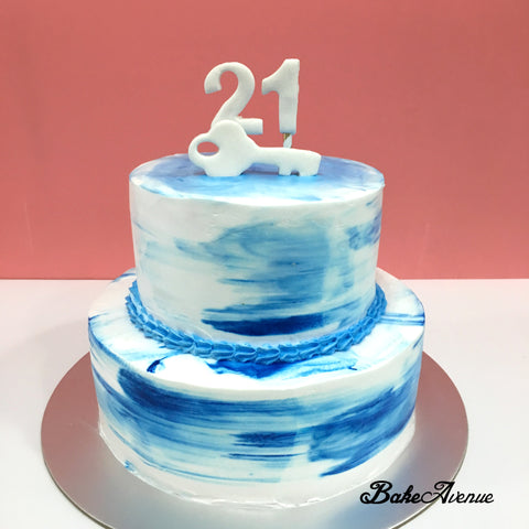 2 Tiers Cake Blue White