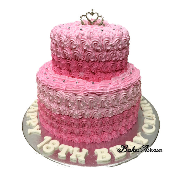 2 Tiers Pink Ombre Cake
