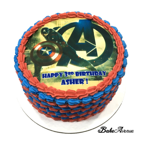Avengers - Captain America icing image Ombre Cake