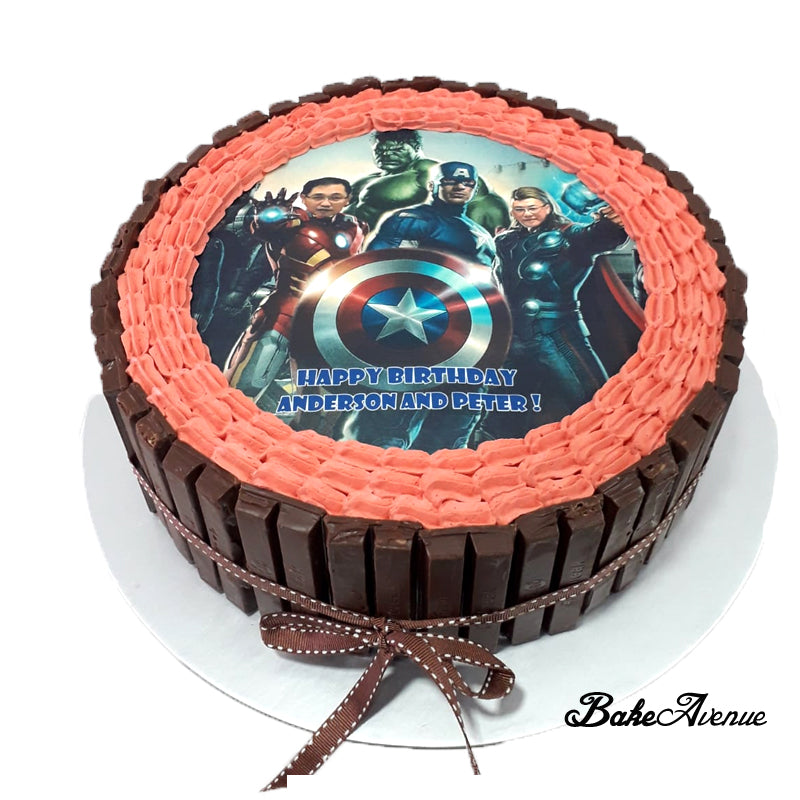 Avengers icing image Kit Kat Chocolate Cake (With Customised Faces)