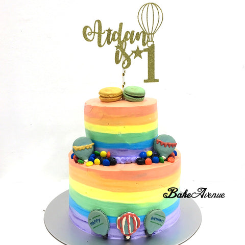 2 Tiers Cake - 1st Birthday , Hot Air Balloon Theme