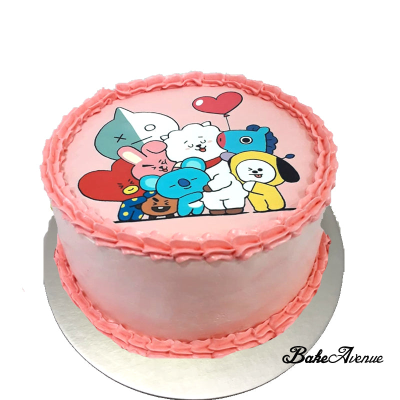 Kpop BT21 icing image Ombre Cake (Smooth Finish)