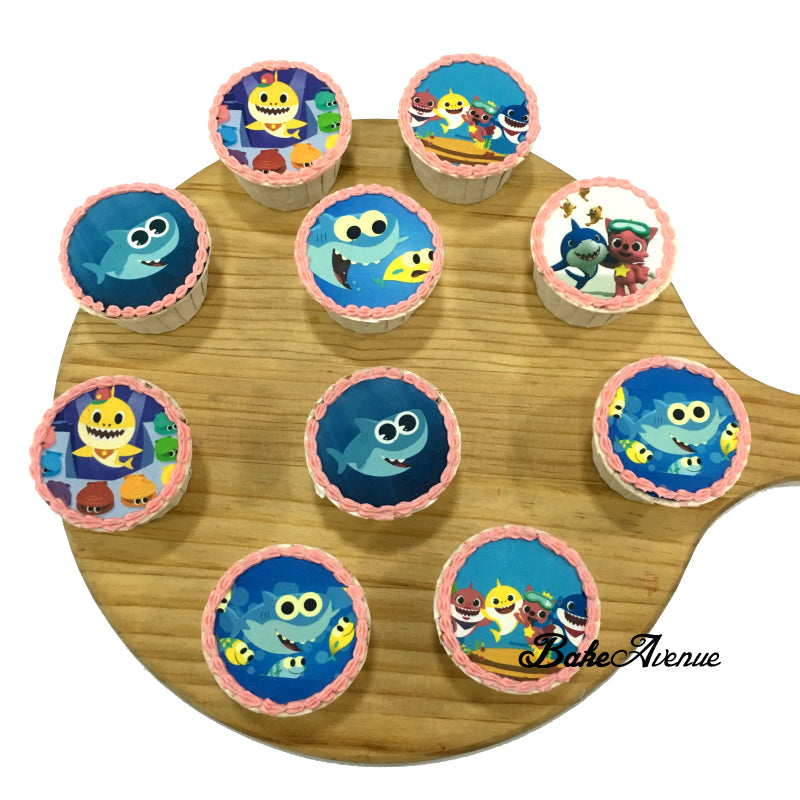 Baby Shark icing image Cupcakes